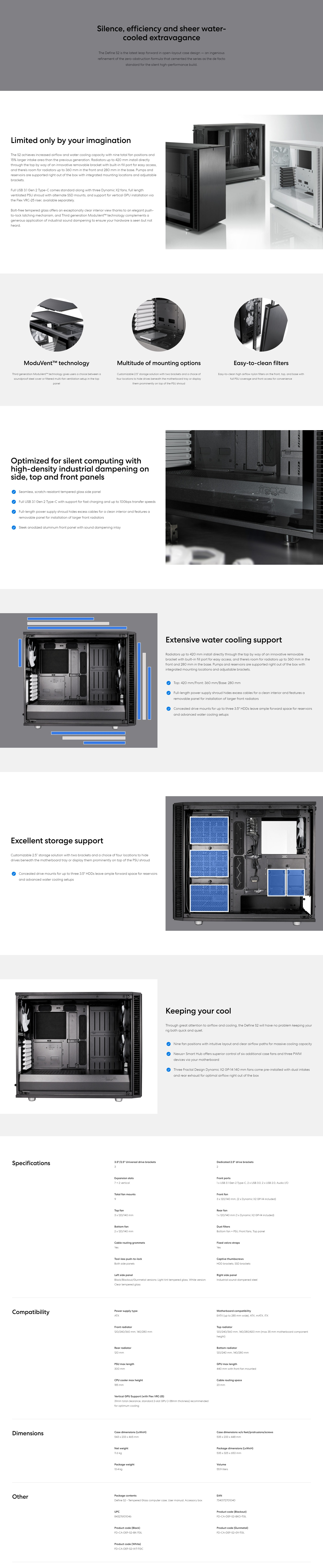 A large marketing image providing additional information about the product Fractal Design Define S2 Tempered Glass Mid Tower Case Blackout - Additional alt info not provided