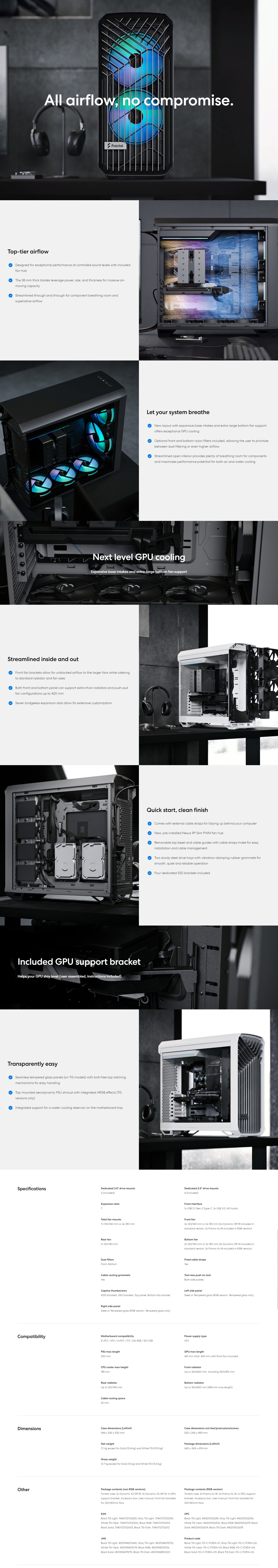 A large marketing image providing additional information about the product Fractal Design Torrent Dark Tempered Glass Mid Tower Case Black - Additional alt info not provided