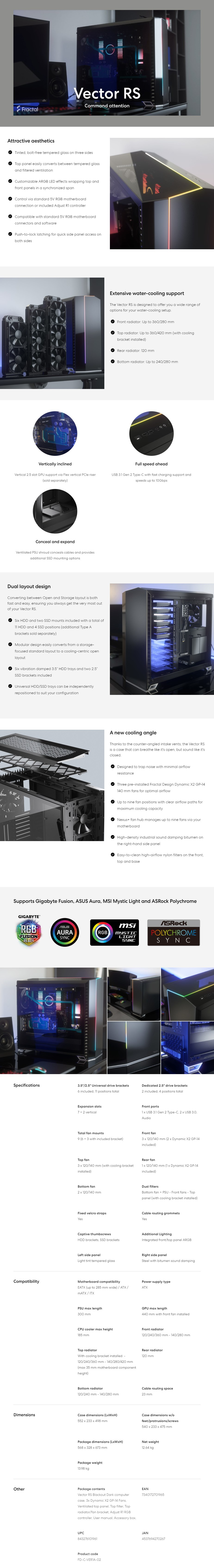 A large marketing image providing additional information about the product Fractal Design Vector RS Dark Tempered Glass Mid Tower Case Black - Additional alt info not provided