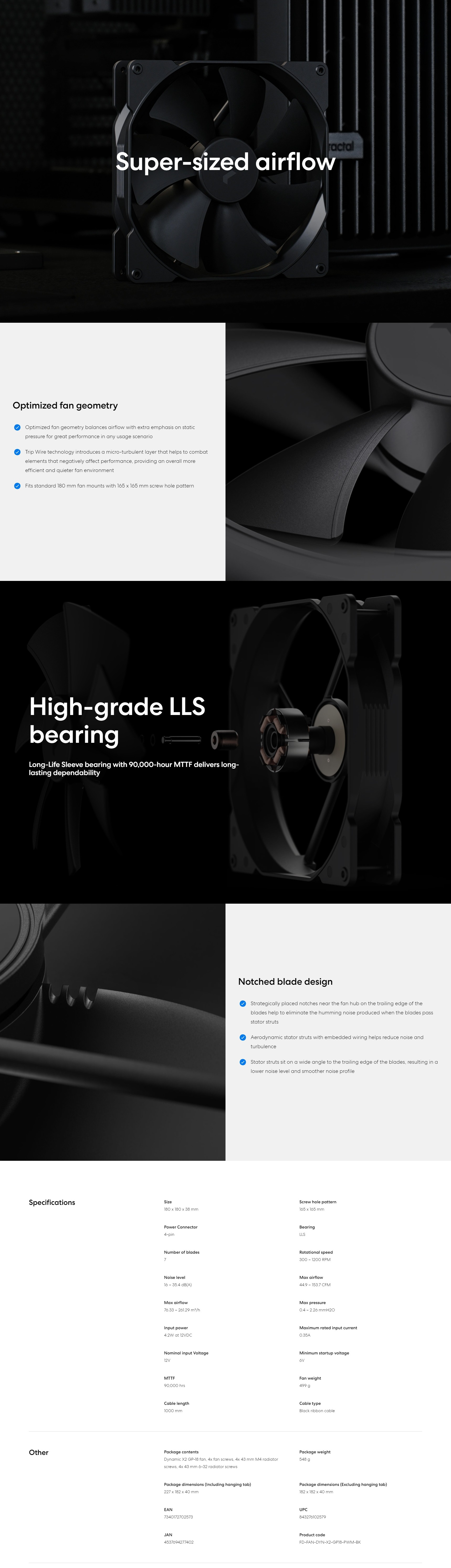 A large marketing image providing additional information about the product Fractal Design Dynamic X2 GP-18 PWM 180mm Fan Black - Additional alt info not provided