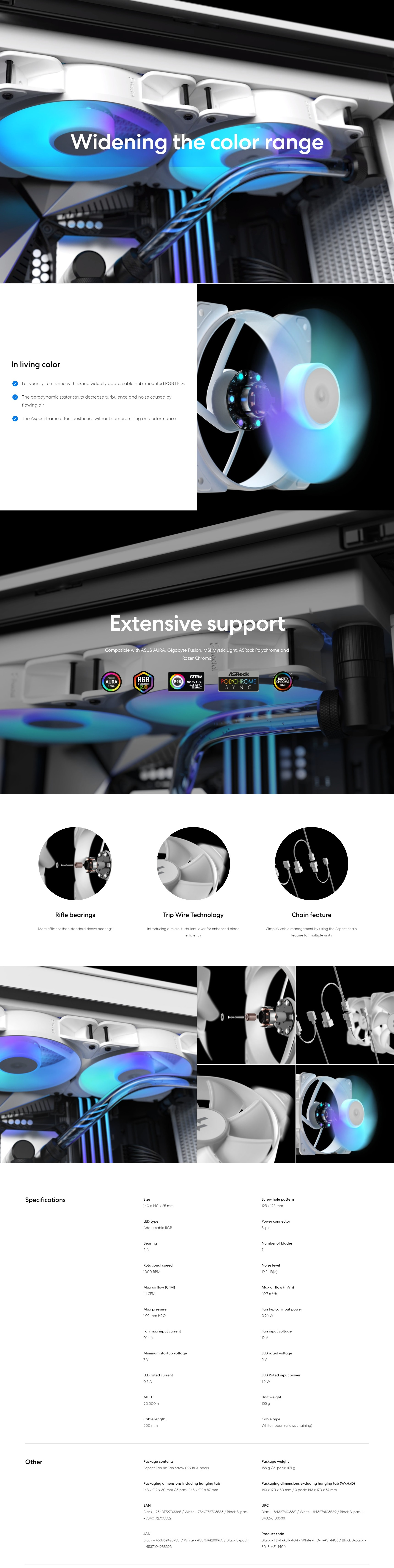 A large marketing image providing additional information about the product Fractal Design Aspect 14 RGB 140mm Fan Black 3-Pack - Additional alt info not provided