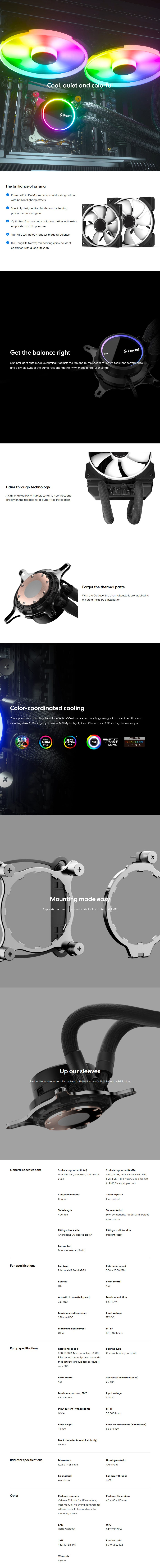 A large marketing image providing additional information about the product Fractal Design Celsius+ S24 Prisma 240mm AIO CPU Cooler - Additional alt info not provided