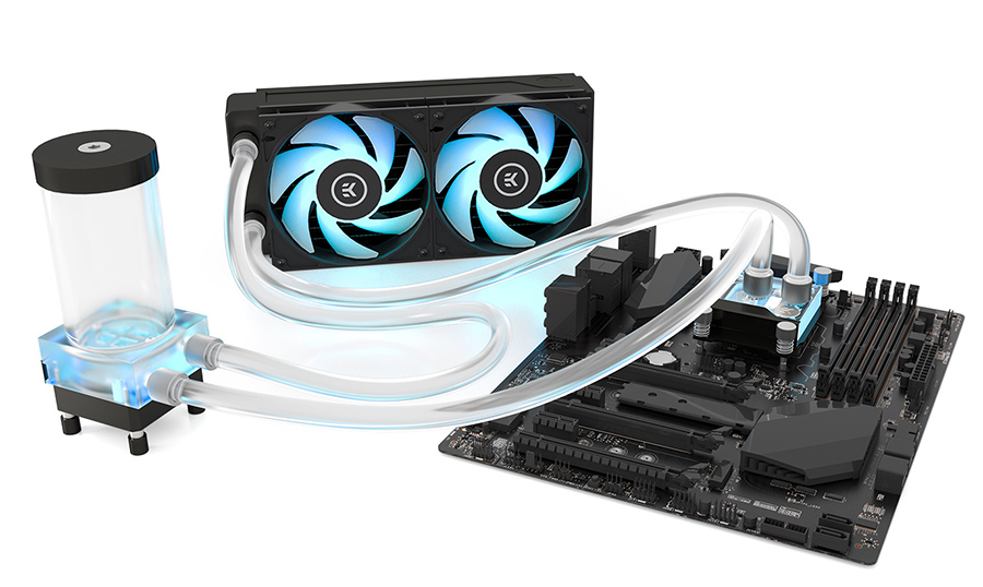 A large marketing image providing additional information about the product EK Classic RGB P240 Water Cooling Kit - Additional alt info not provided
