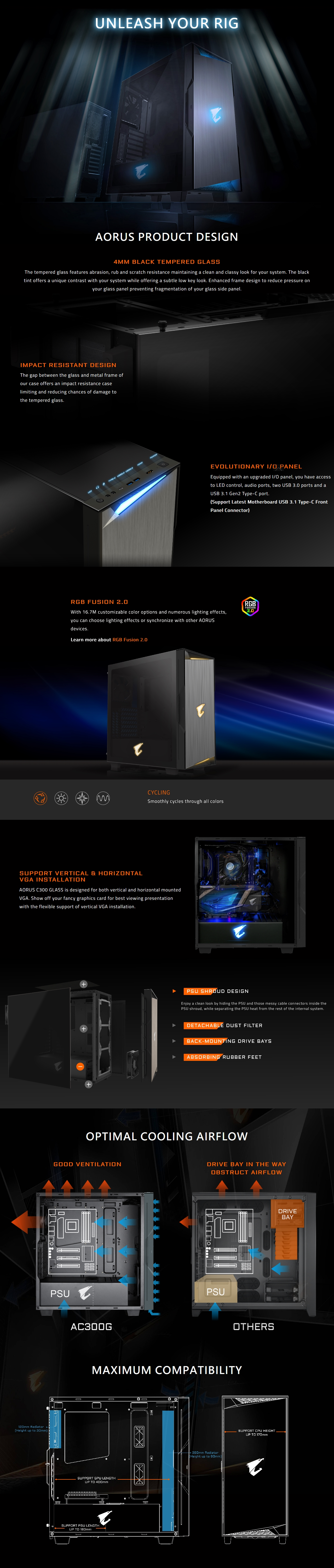 A large marketing image providing additional information about the product Gigabyte AC300G ATX Mid Tower Case w/ Tempered Glass Side Panel - Additional alt info not provided