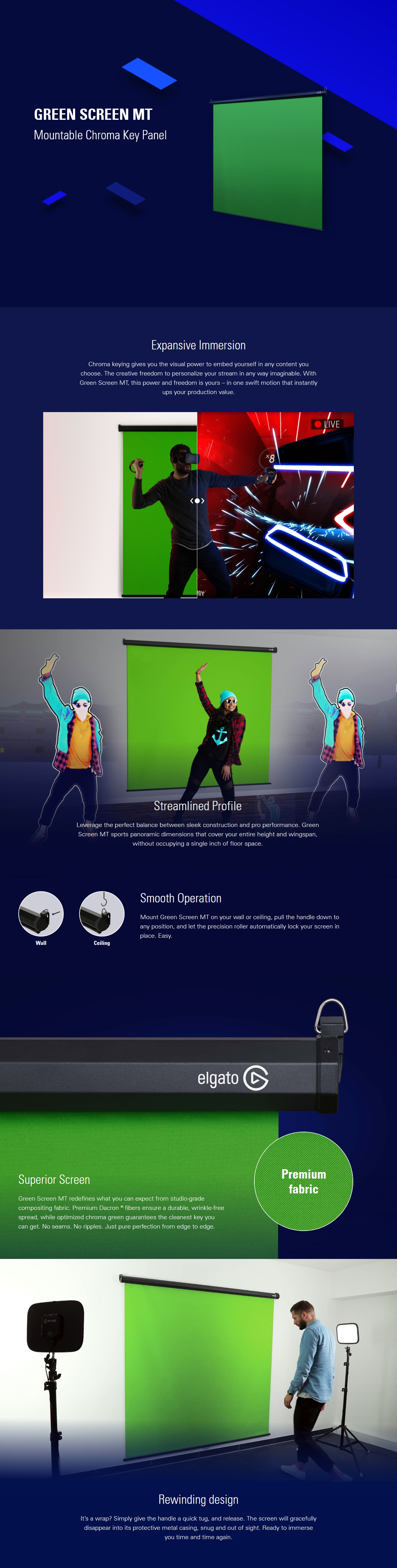 A large marketing image providing additional information about the product Elgato Green Screen MT - Additional alt info not provided