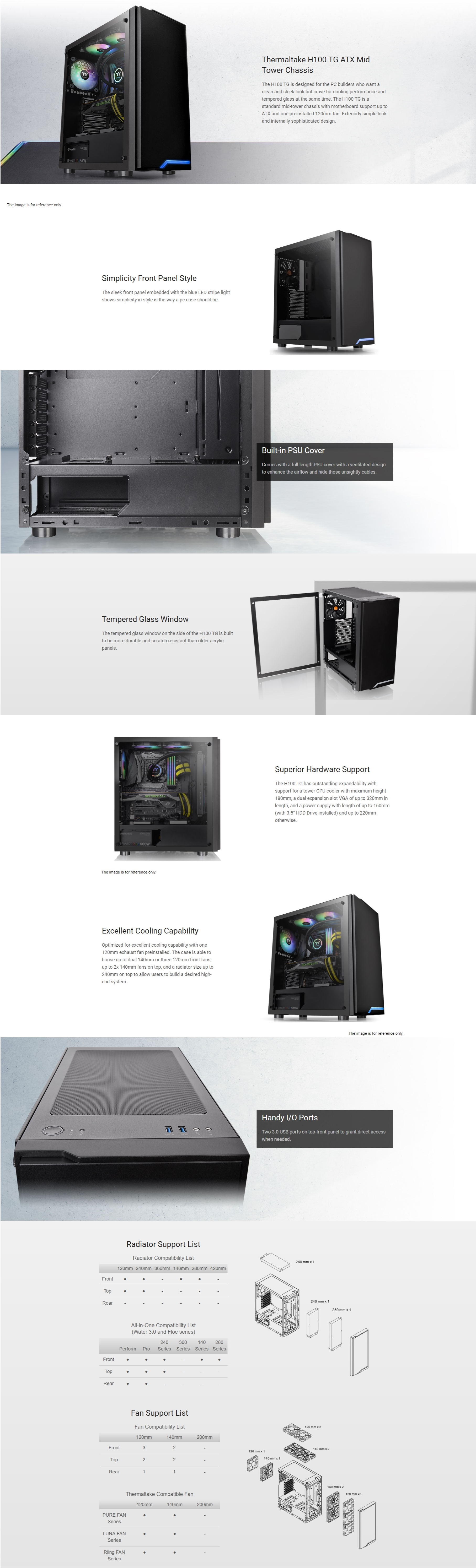 A large marketing image providing additional information about the product Thermaltake H100 Mid Tower Case w/ Tempered Glass Side Panel - Additional alt info not provided