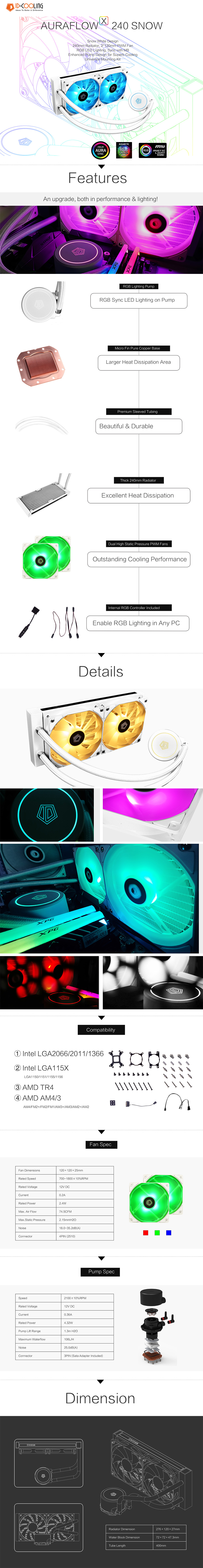 A large marketing image providing additional information about the product ID-COOLING AuraFlow X 240 SNOW AIO CPU Liquid Cooler - Additional alt info not provided