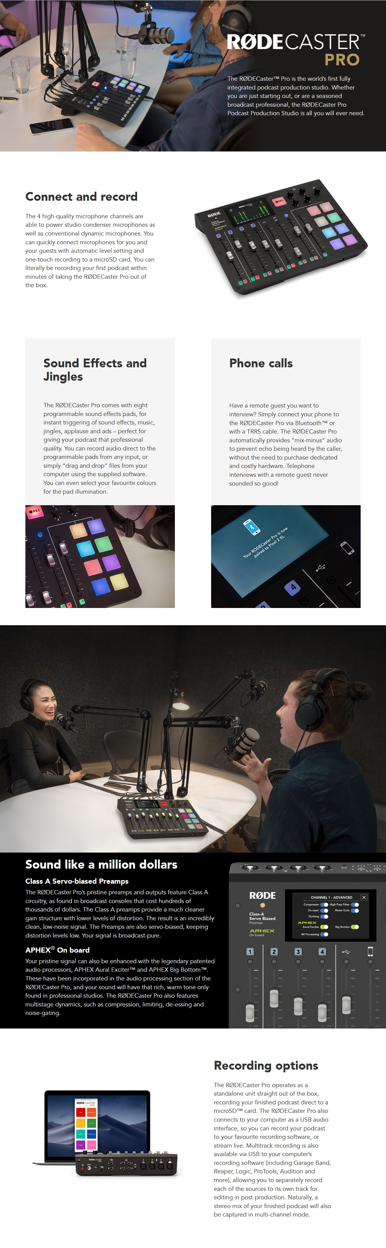 A large marketing image providing additional information about the product RODE RODECaster Pro Integrated Podcast Production Console - Additional alt info not provided