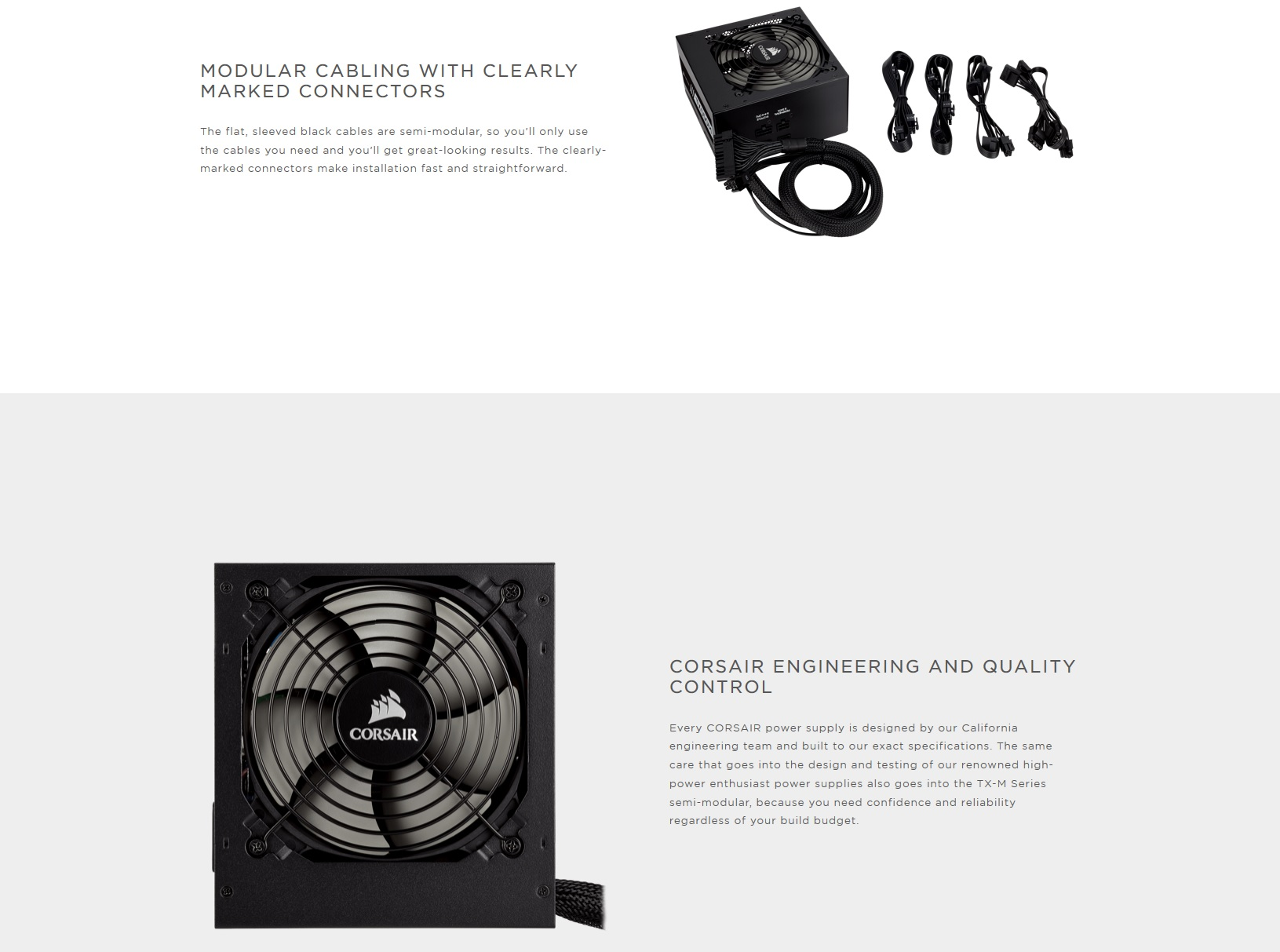 A large marketing image providing additional information about the product Corsair TX550 550W 80PLUS Gold Semi-Modular Power Supply - Additional alt info not provided