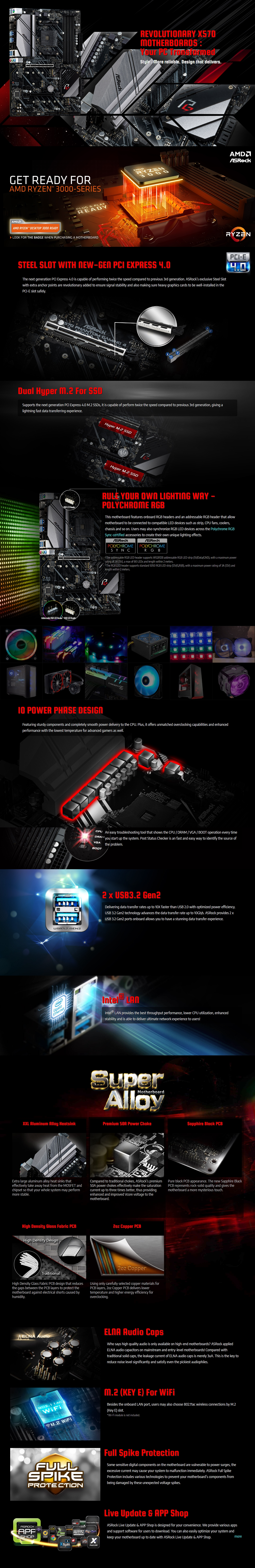 A large marketing image providing additional information about the product ASRock X570 Phantom Gaming 4 ATX AM4 Desktop Motherboard - Additional alt info not provided