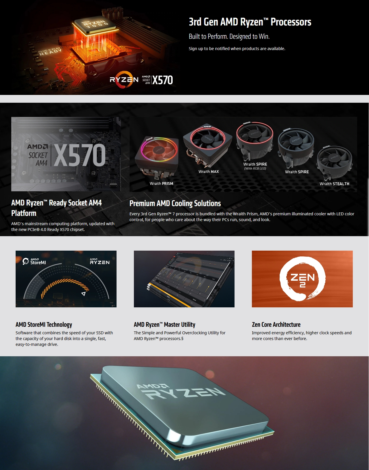 A large marketing image providing additional information about the product AMD Ryzen 7 3700X 3.6Ghz 8 Core 16 Thread AM4 Retail Box - With Wraith Prism RGB Cooler - Additional alt info not provided
