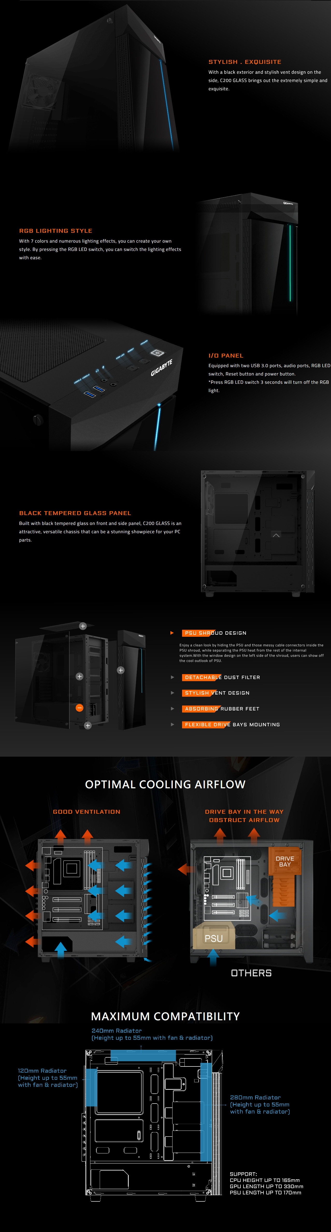 A large marketing image providing additional information about the product Gigabyte C200 Glass ATX Mid Tower Case - Additional alt info not provided