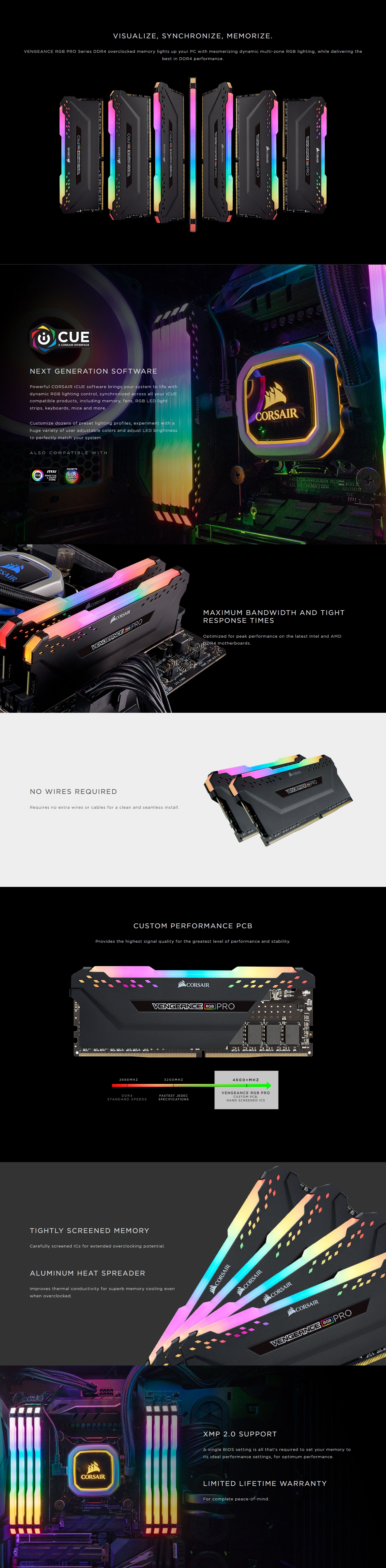 A large marketing image providing additional information about the product Corsair 16GB Kit (2x8GB) DDR4 Vengeance RGB PRO C16 3200Mhz - White - Additional alt info not provided