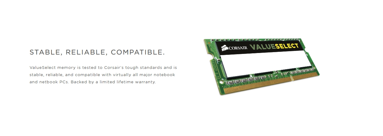 A large marketing image providing additional information about the product Corsair 8GB DDR3 VS SO-DIMM C11 1600Mhz - Additional alt info not provided