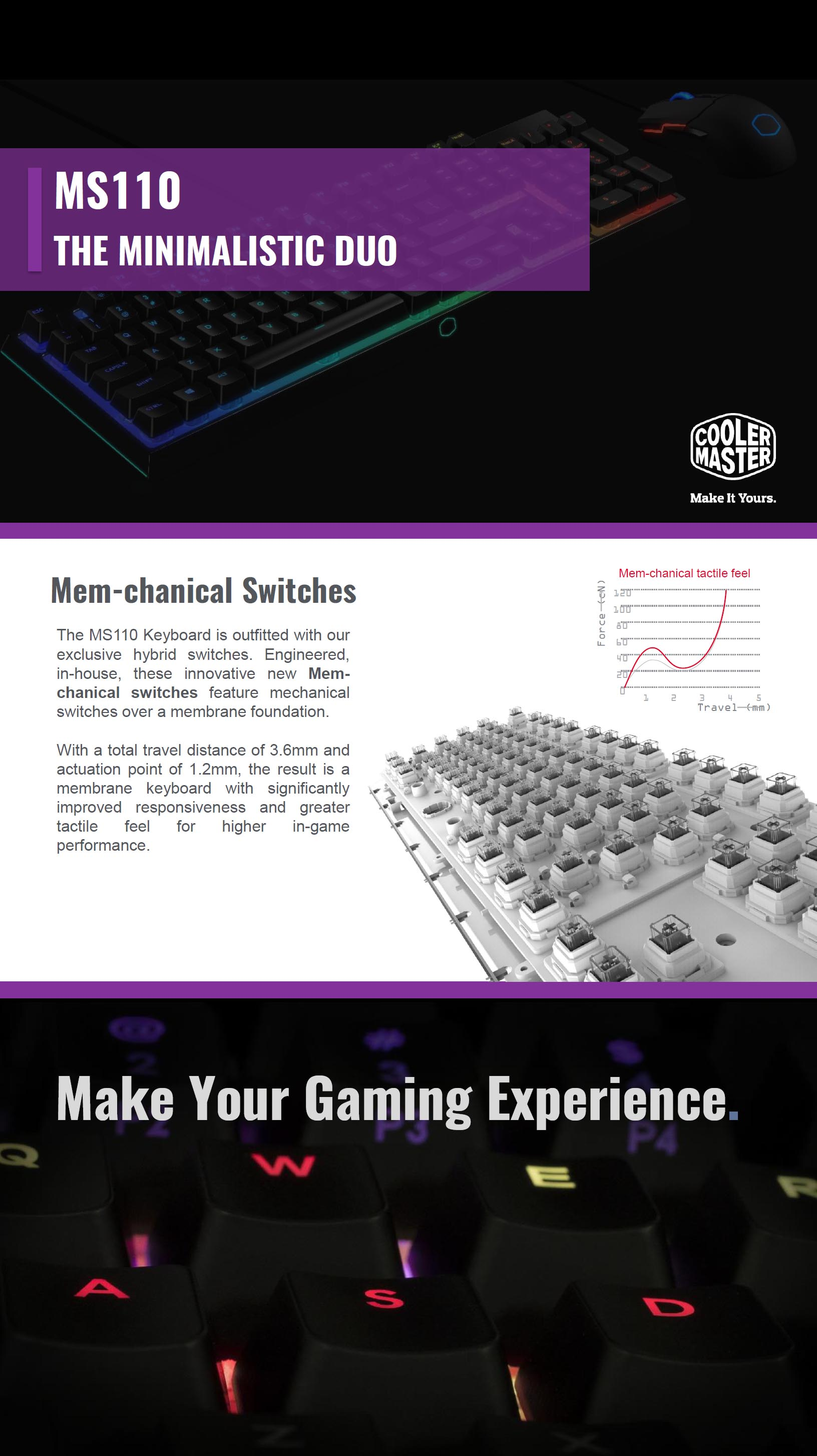 A large marketing image providing additional information about the product Cooler Master MasterSet MS110 RGB Keyboard/Mouse Combo Kit - Additional alt info not provided