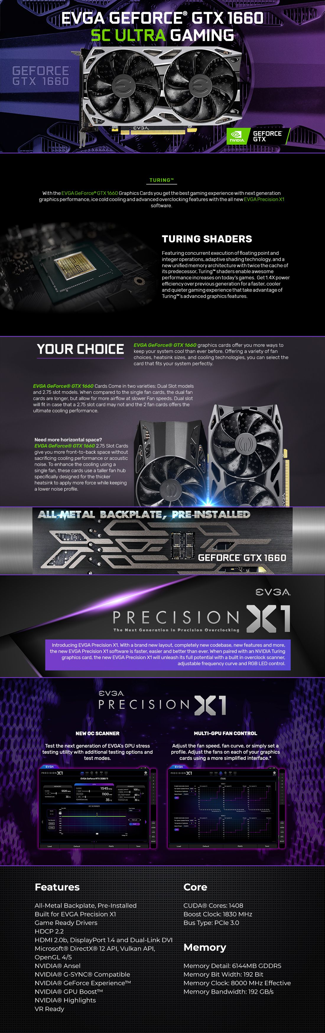 A large marketing image providing additional information about the product eVGA GeForce GTX1660 SC Ultra 6GB GDDR5 - Additional alt info not provided