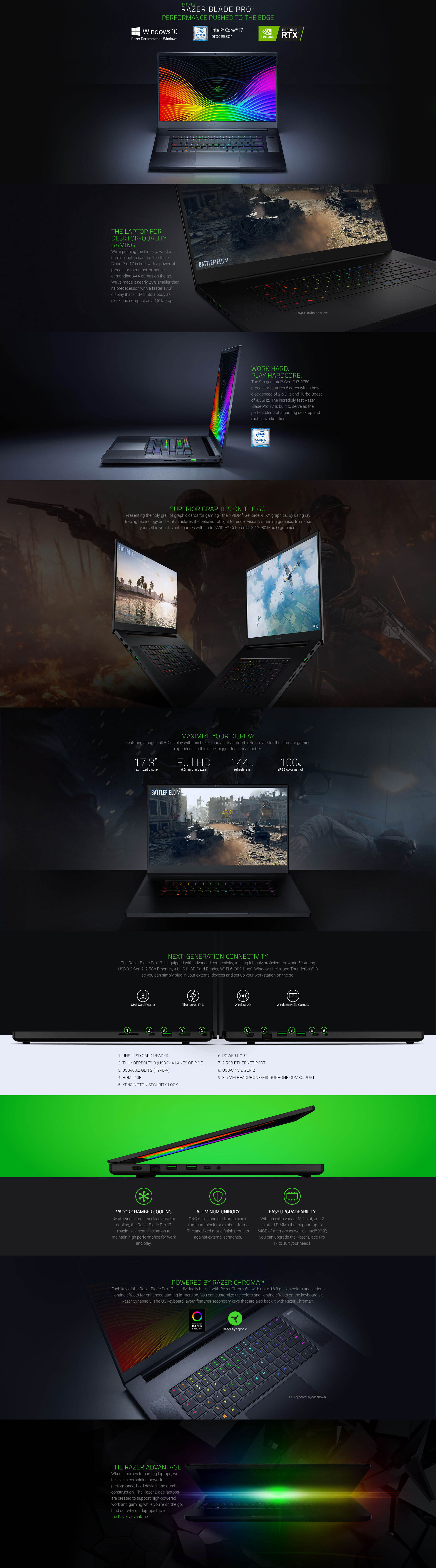 """A large marketing image providing additional information about the product Razer Blade Pro 17 17.3""""  i7 RTX2060 512GB 144Hz Windows 10 Gaming Notebook  - Additional alt info not provided"""