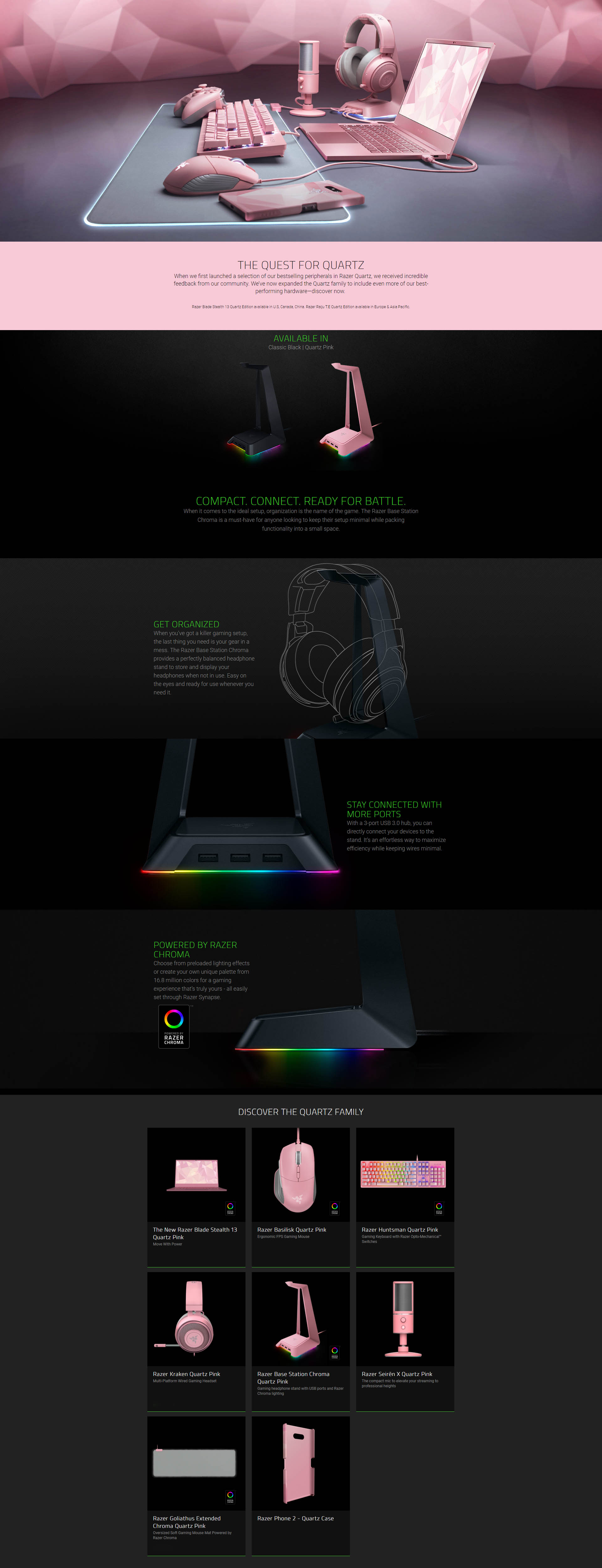 A large marketing image providing additional information about the product Razer Chroma Headset Stand & Base Station Quartz Pink - Additional alt info not provided