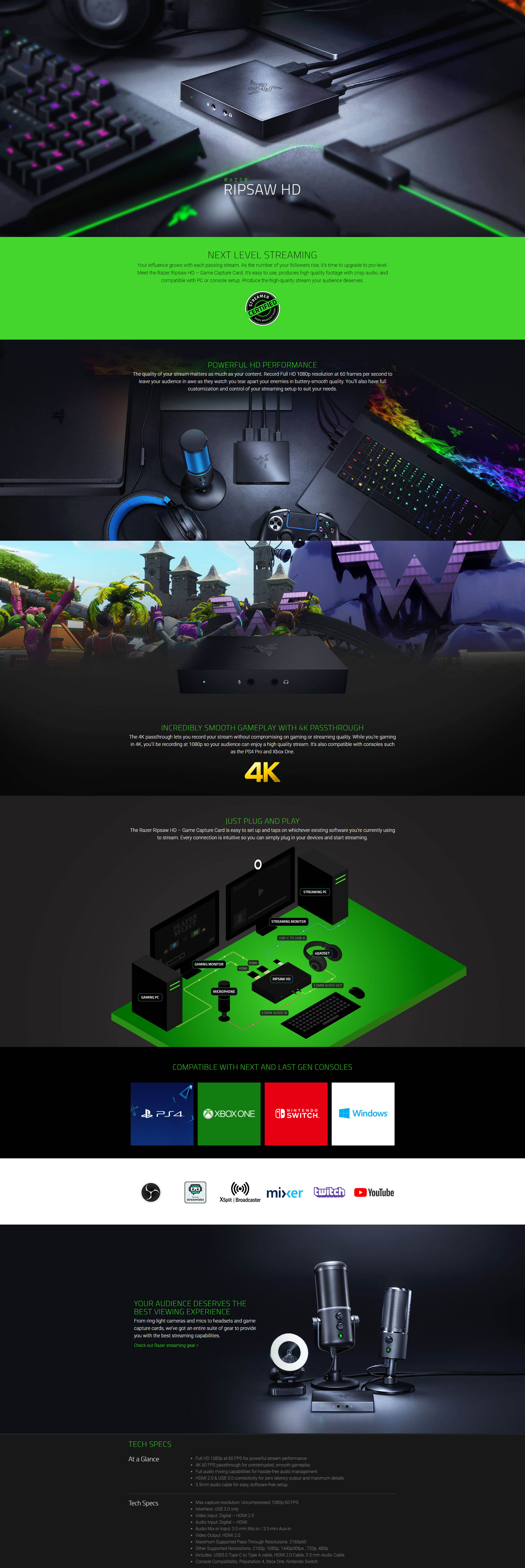 A large marketing image providing additional information about the product Razer Ripsaw HD USB3.0 Type-C Game Capture Card - Additional alt info not provided