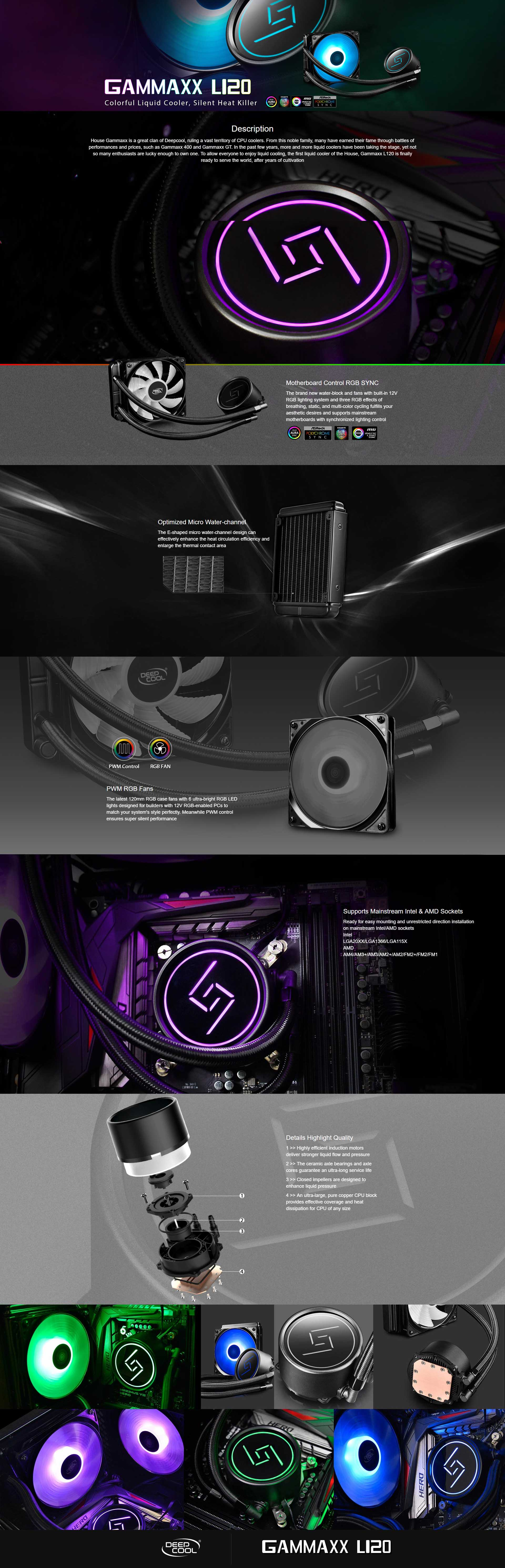 A large marketing image providing additional information about the product Deepcool Gammaxx L120 RGB LED AIO Liquid Cooler - Additional alt info not provided