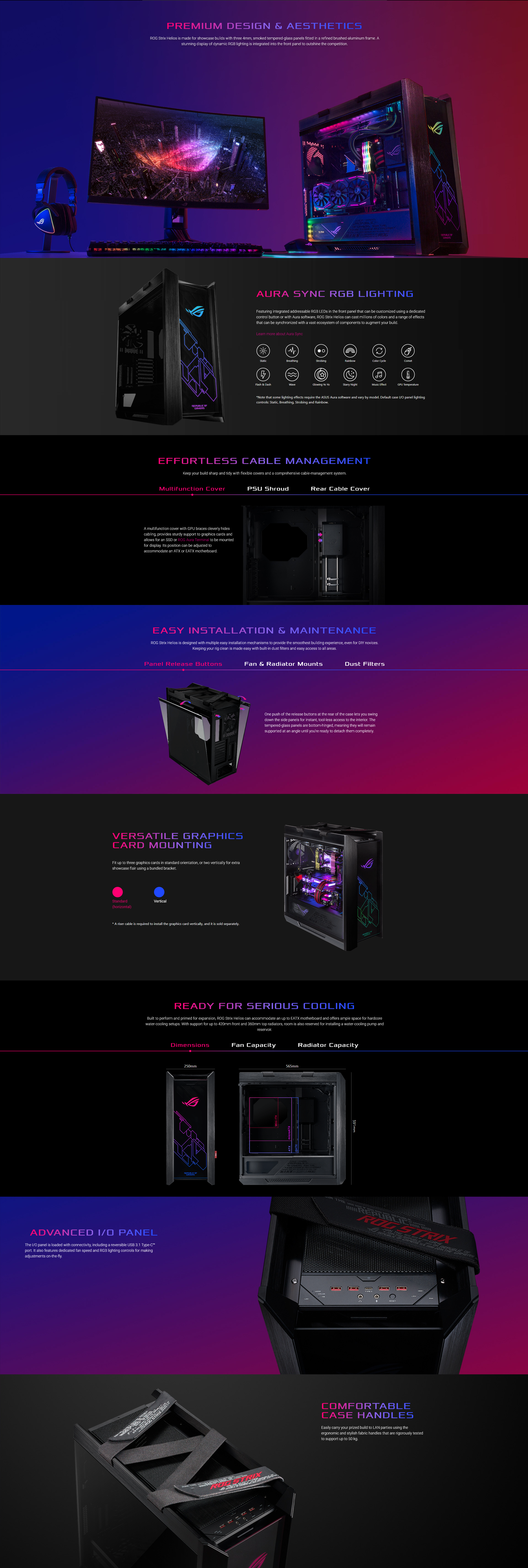 A large marketing image providing additional information about the product ASUS ROG Strix Helios Mid Tower Case w/Tempered Glass Side Panel - Additional alt info not provided