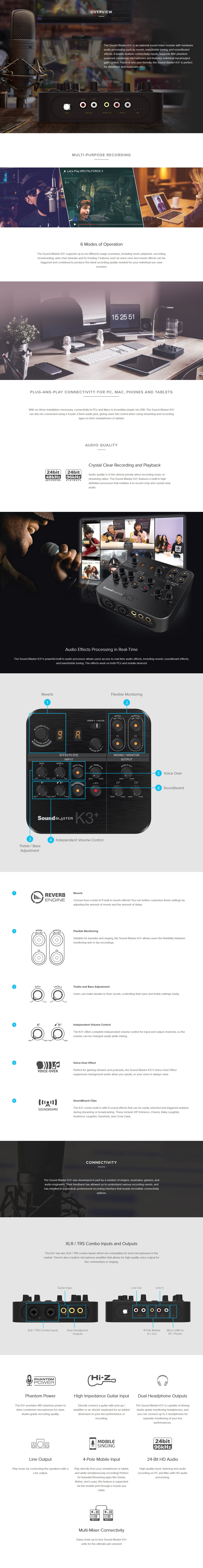 A large marketing image providing additional information about the product Creative SoundBlaster K3+ XLR Audio Mixer - Additional alt info not provided