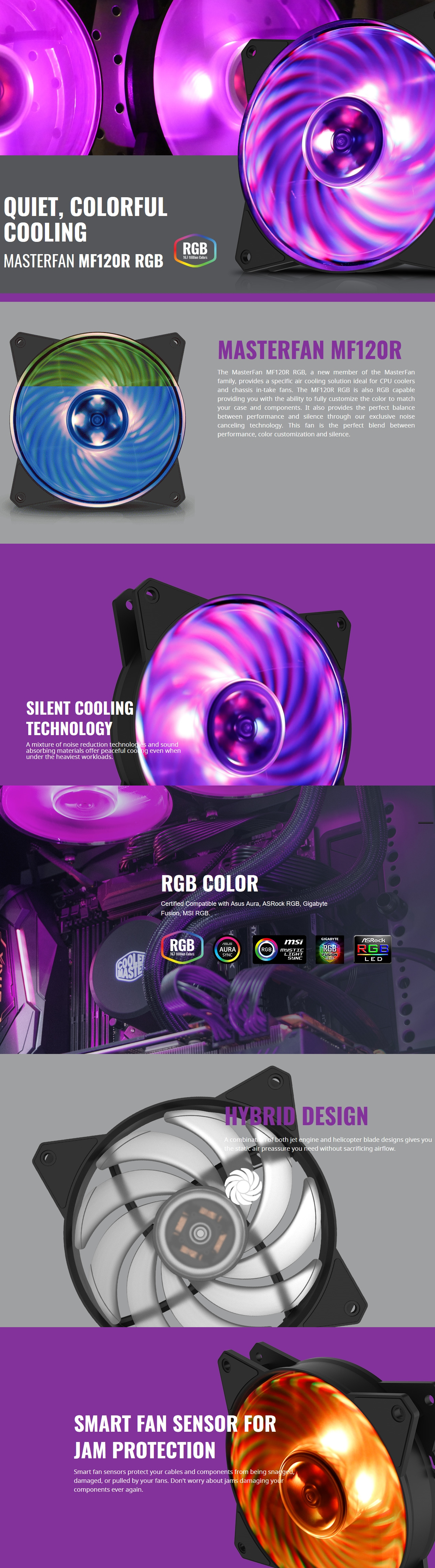 A large marketing image providing additional information about the product Cooler Master MasterFan MF120R 120mm RGB Fan - Additional alt info not provided