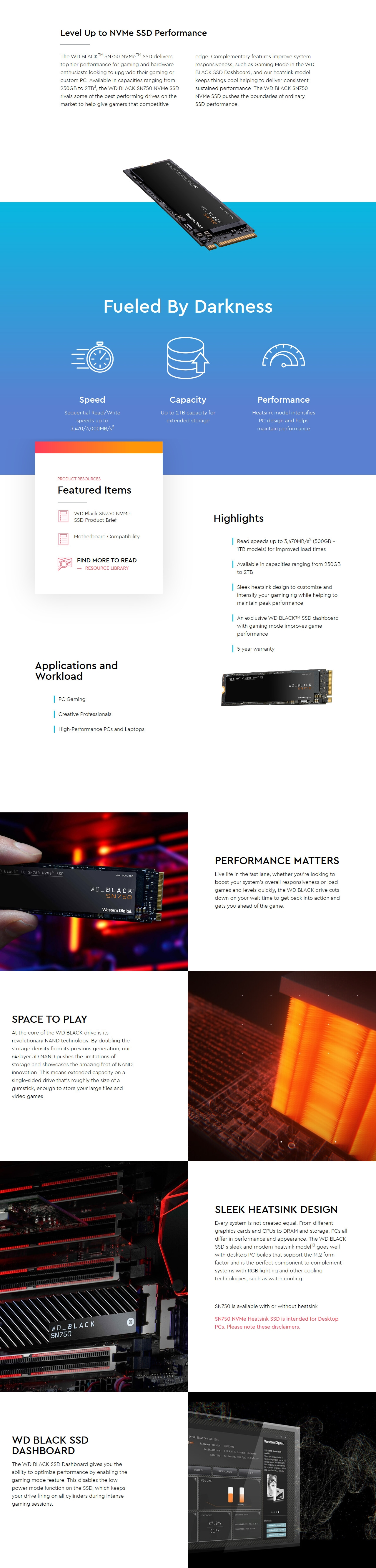 A large marketing image providing additional information about the product WD Black SN750 500GB 3D NAND NVMe M.2 SSD w/Heatsink - Additional alt info not provided