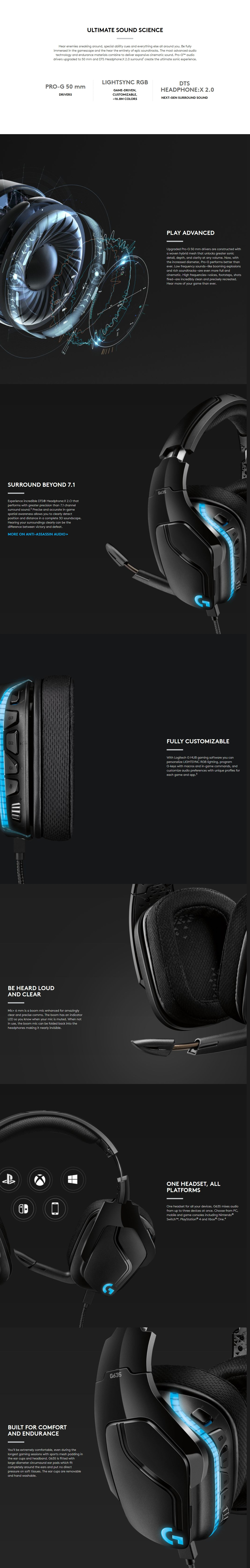 A large marketing image providing additional information about the product Logitech G635 7.1 Wired Surround Sound Gaming Headset - Additional alt info not provided