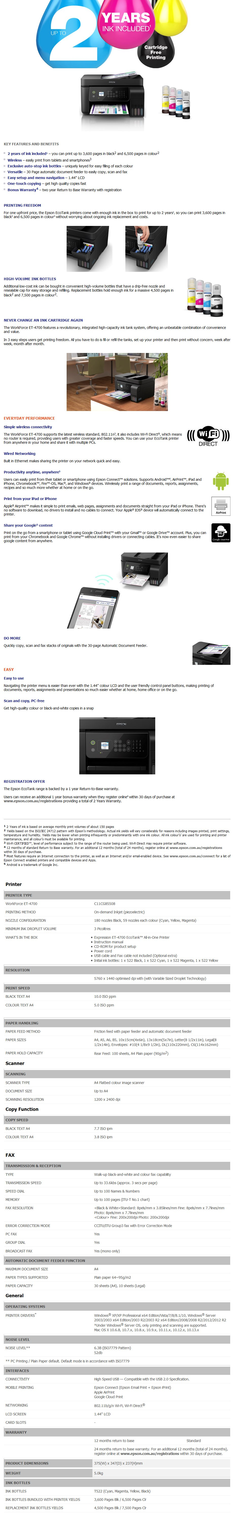 A large marketing image providing additional information about the product Epson WorkForce ET-4700 EcoTank Multifunction Printer - Additional alt info not provided