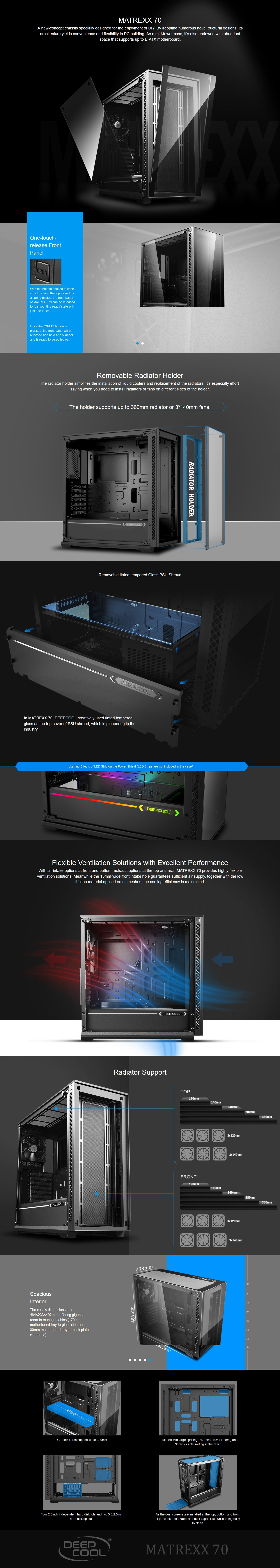 A large marketing image providing additional information about the product Deepcool Matrexx 70 Mid Tower Case w/ Tempered Glass Side Panel - Additional alt info not provided