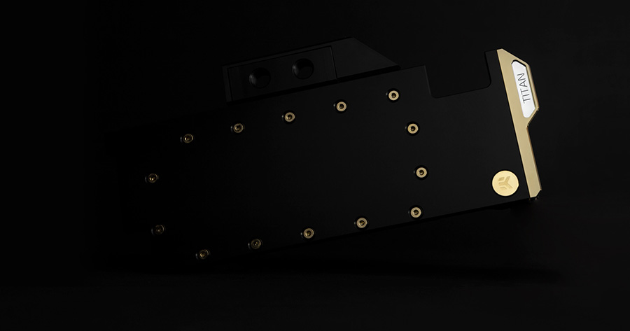 A large marketing image providing additional information about the product EK Vector RTX Titan Acetal/Gold GPU Waterblock - Additional alt info not provided