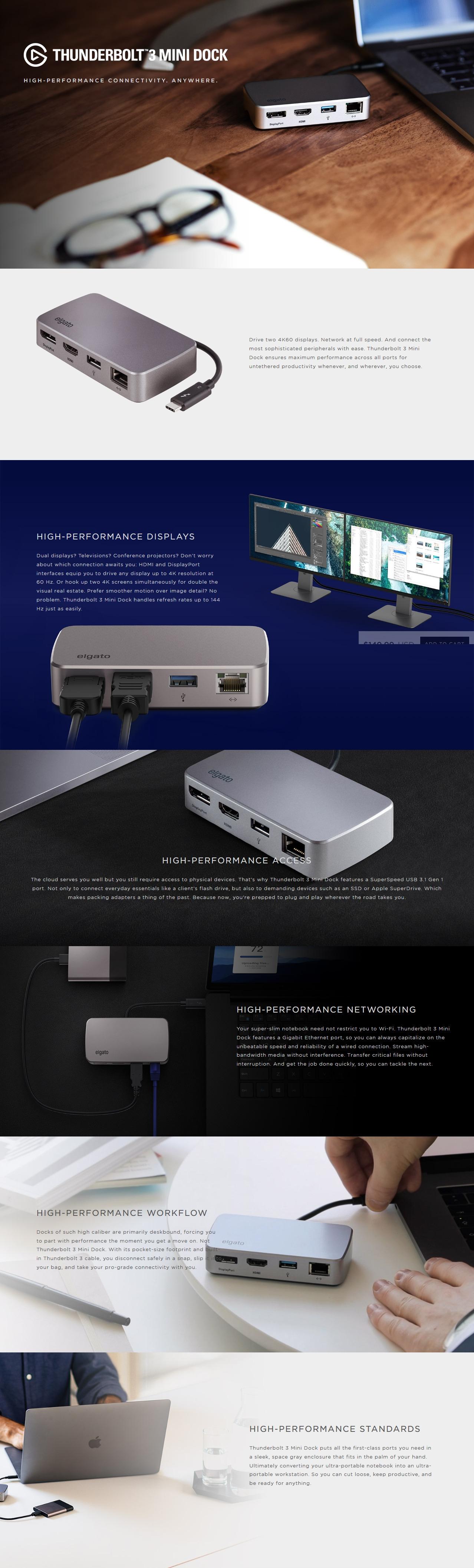 A large marketing image providing additional information about the product Elgato Thunderbolt 3 Mini Docking Station - Additional alt info not provided
