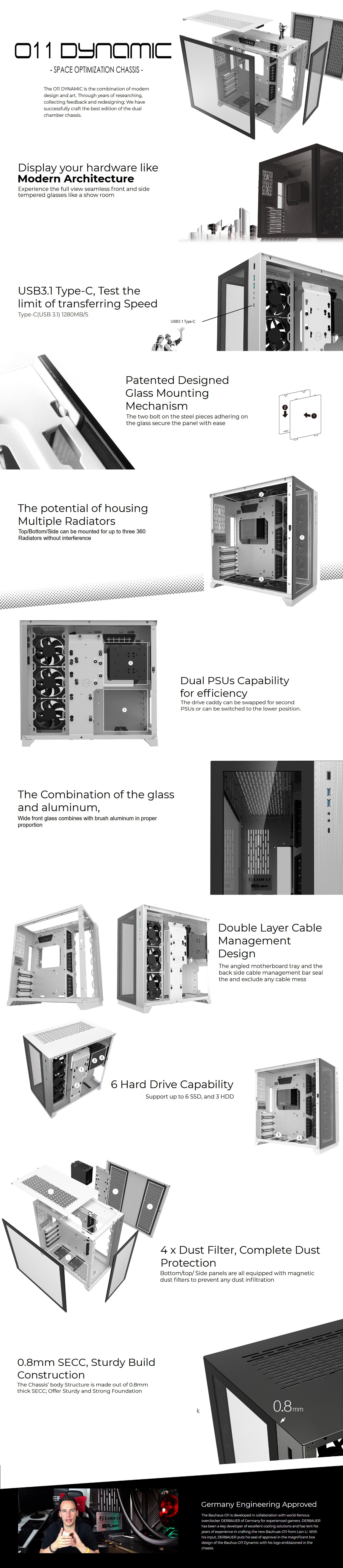 A large marketing image providing additional information about the product Lian-Li PC-O11 Dynamic Tempered Glass Mid Tower Case - Black - Additional alt info not provided