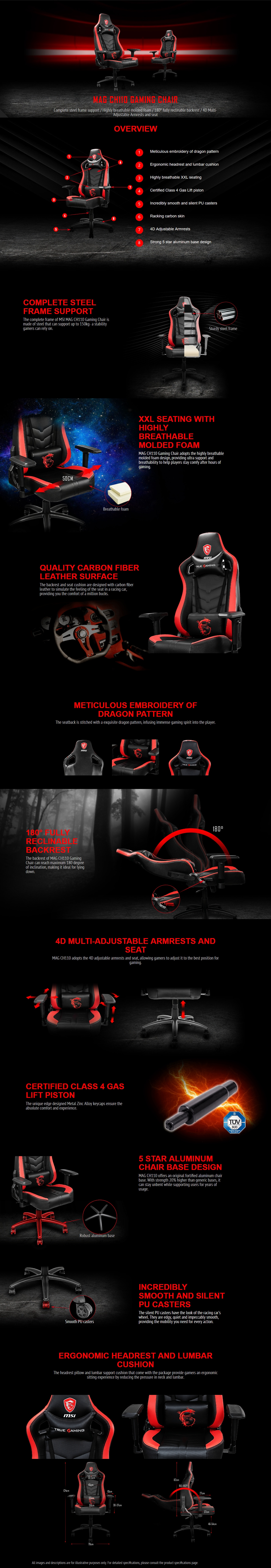 A large marketing image providing additional information about the product MSI MAG CH110 Black/Red Gaming Chair - Additional alt info not provided
