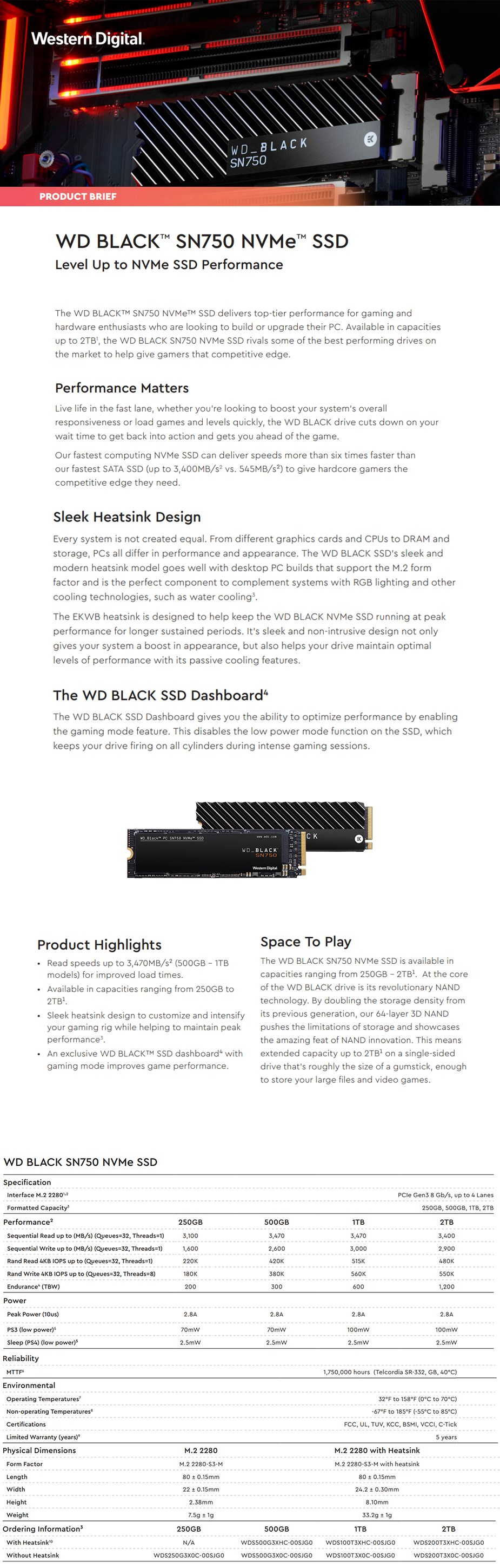 A large marketing image providing additional information about the product WD Black SN750 500GB 3D NAND NVMe M.2 SSD - Additional alt info not provided