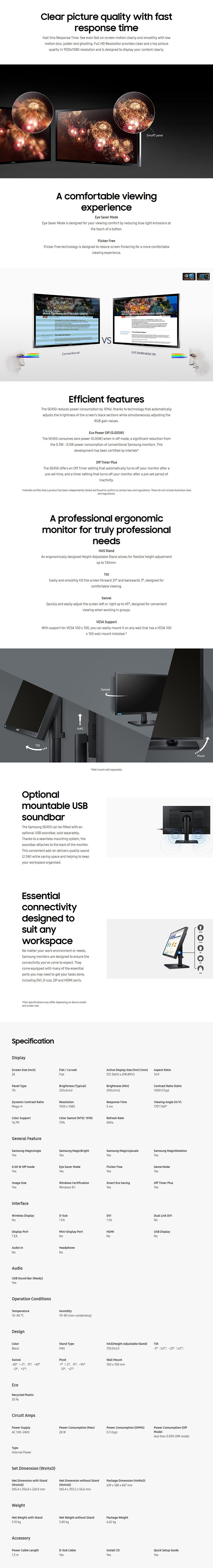 """A large marketing image providing additional information about the product Samsung SE450 23.6"""" Full HD 5MS LED Business Monitor - Additional alt info not provided"""