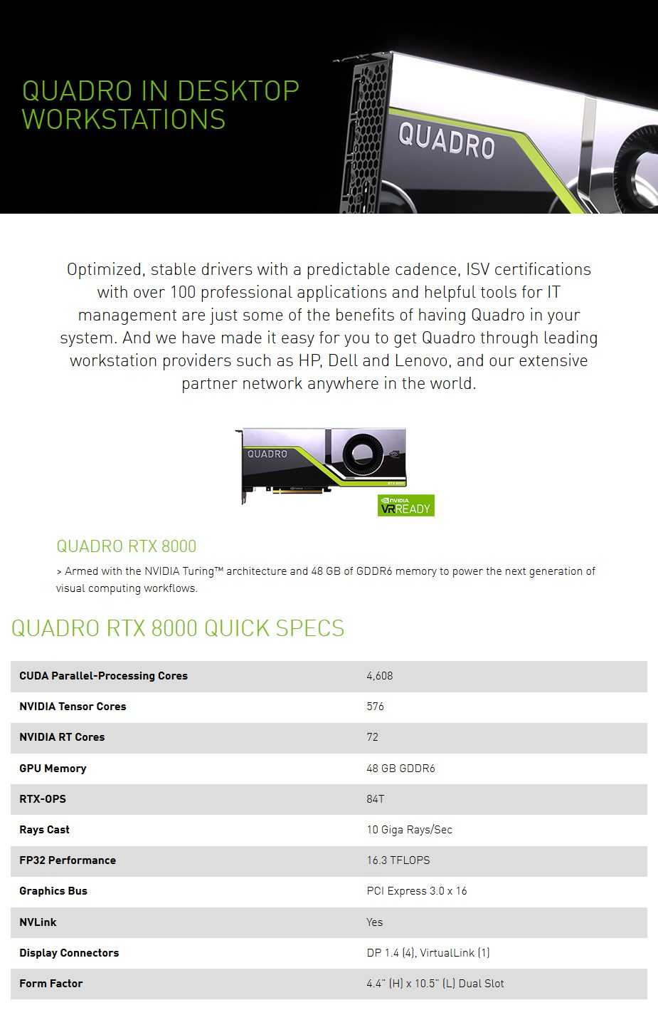 A large marketing image providing additional information about the product Leadtek Quadro RTX 8000 576-Tensor Core 48GB GDDR6 - Additional alt info not provided