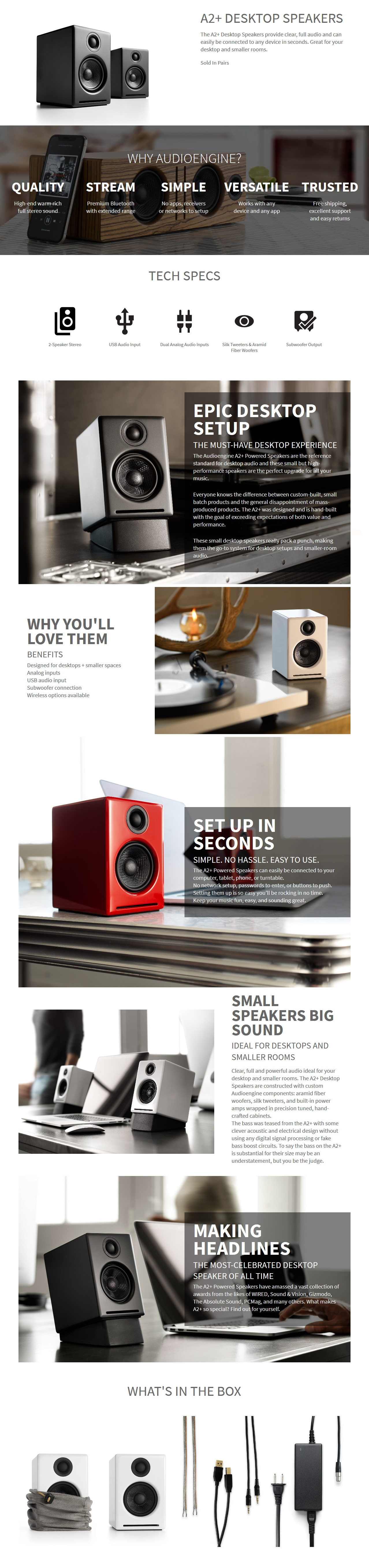 A large marketing image providing additional information about the product Audioengine A2+ Powered Wireless Desktop Speakers - Satin Black - Additional alt info not provided