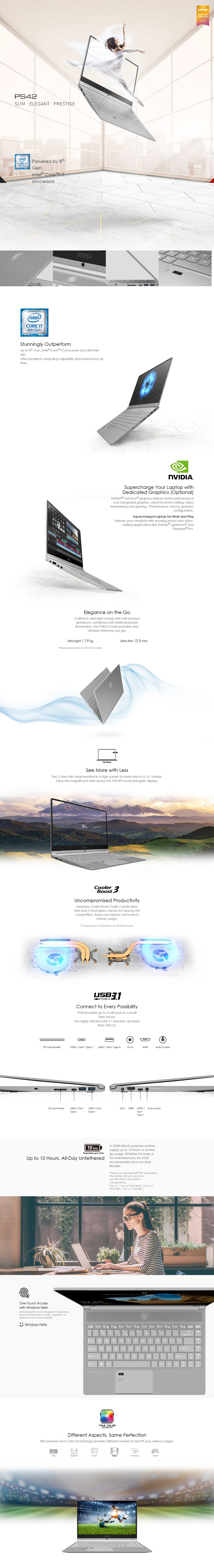 """A large marketing image providing additional information about the product MSI PS42 8MO Modern 14"""" i5 256GB Windows 10 Home Notebook - Additional alt info not provided"""