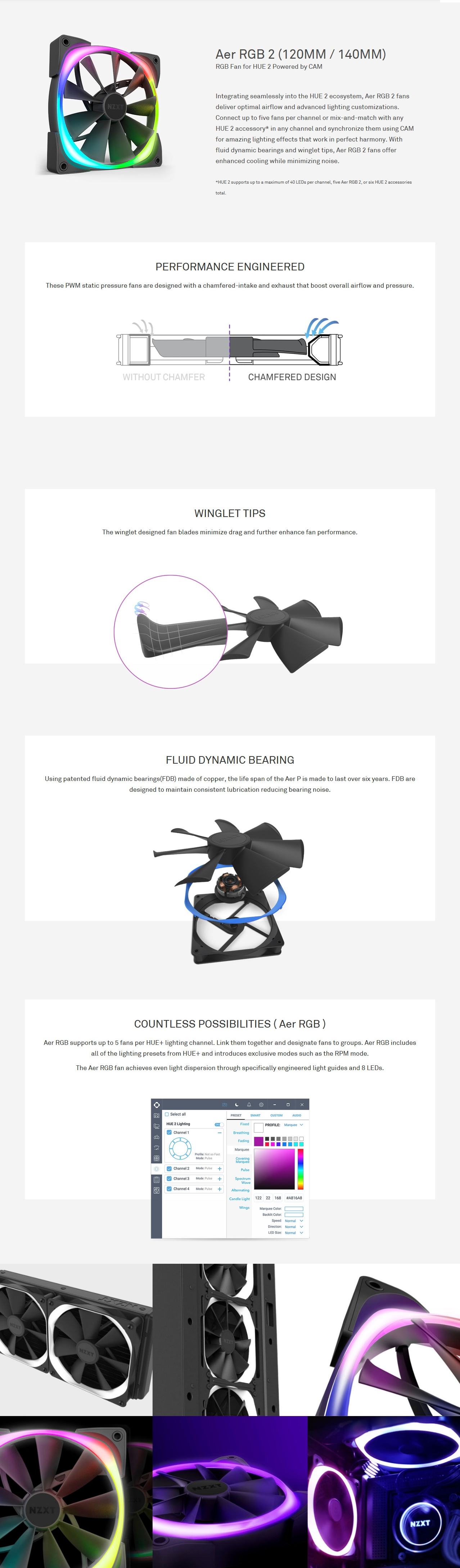 A large marketing image providing additional information about the product NZXT Aer2 RGB 120mm Case Fan - Additional alt info not provided