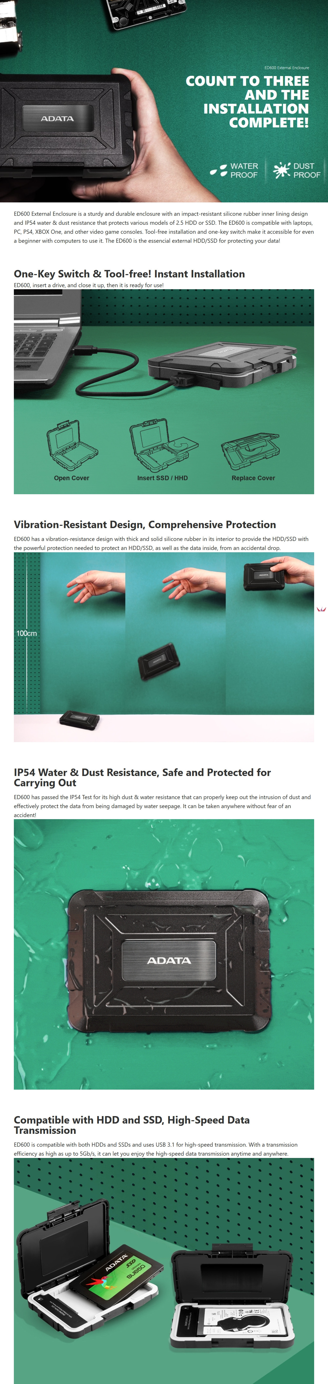 """A large marketing image providing additional information about the product ADATA Armoured ED600 2.5"""" External Hard Drive Enclosure - Additional alt info not provided"""