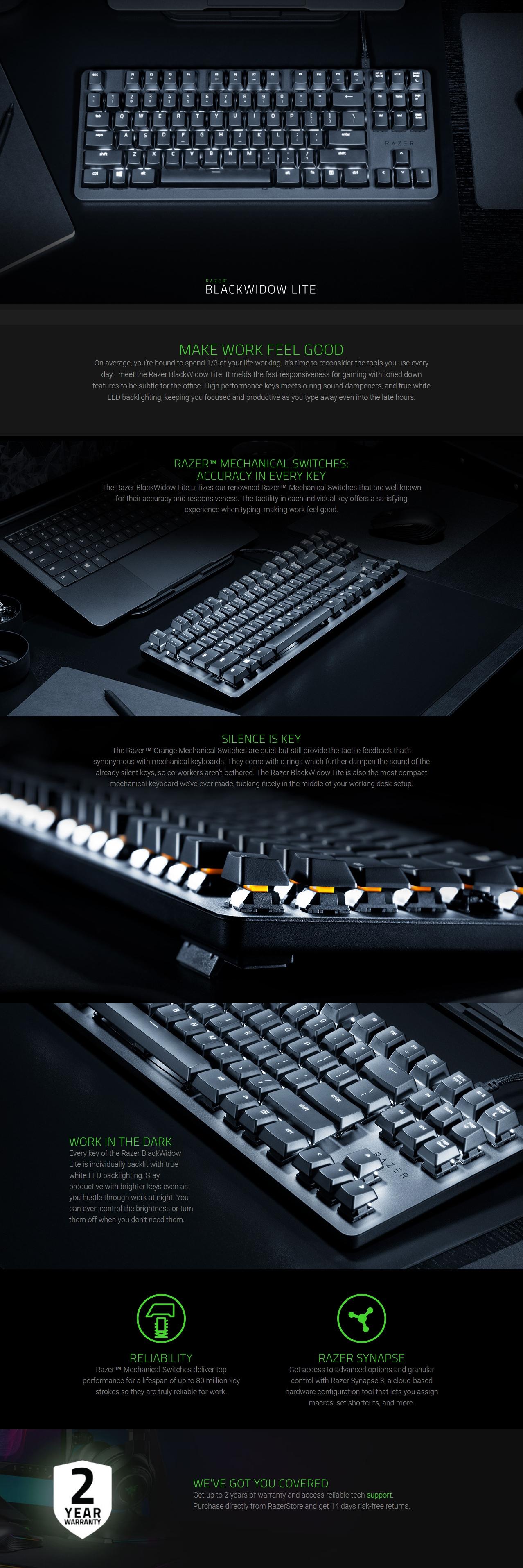 A large marketing image providing additional information about the product Razer Blackwidow Lite Mechanical Gaming Keyboard (Orange Switch) - Additional alt info not provided