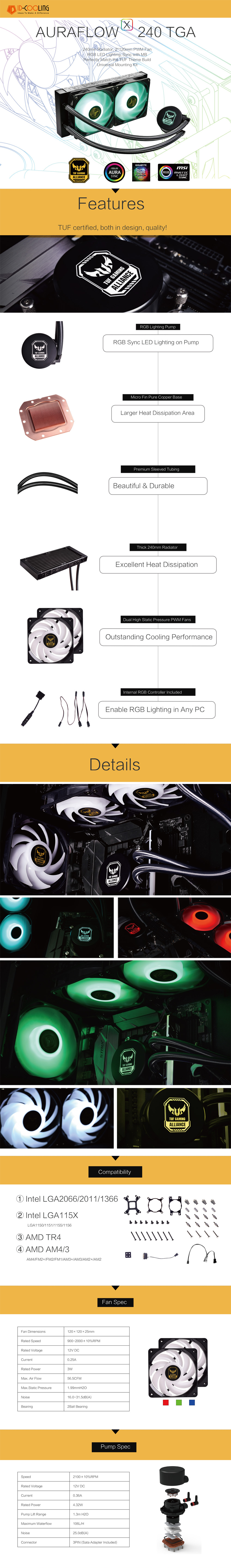 A large marketing image providing additional information about the product ID-COOLING AuraFlow X TUF Gaming Alliance 240 RGB AIO CPU Liquid Cooler - Additional alt info not provided