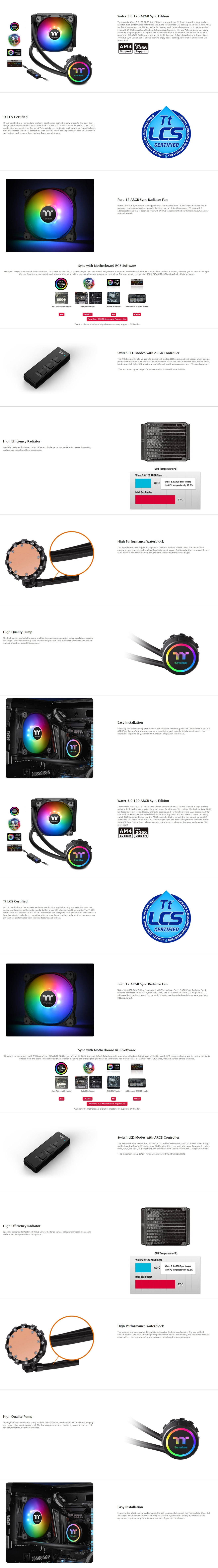 A large marketing image providing additional information about the product Thermaltake Water 3.0 120 Addressable RGB CPU Liquid Cooler - Additional alt info not provided