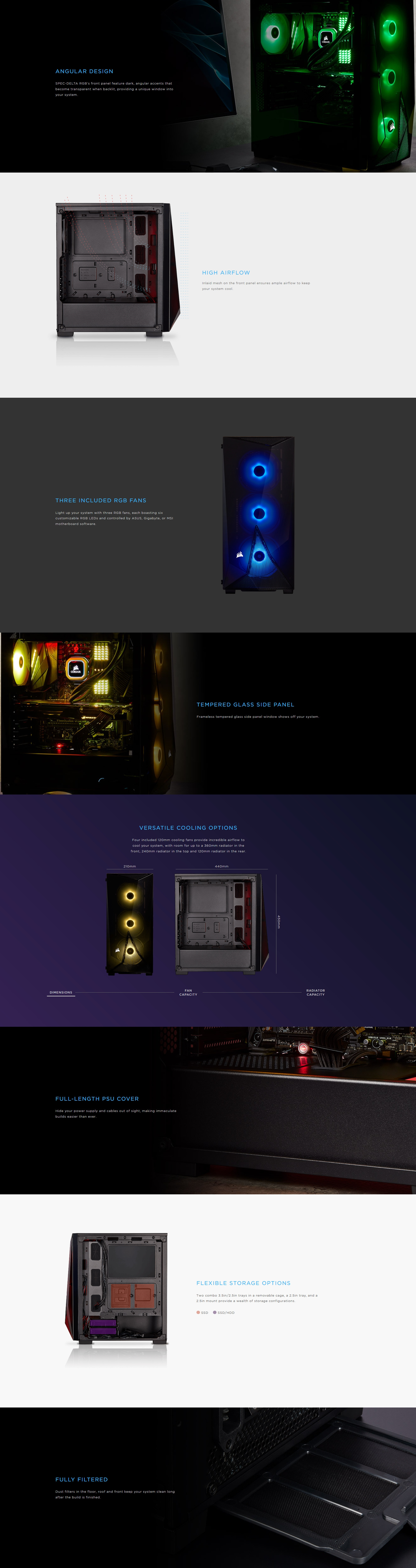 A large marketing image providing additional information about the product Corsair Carbide SPEC-DELTA Black RGB Mid Tower Case w/Tempered Glass Side Panel - Additional alt info not provided