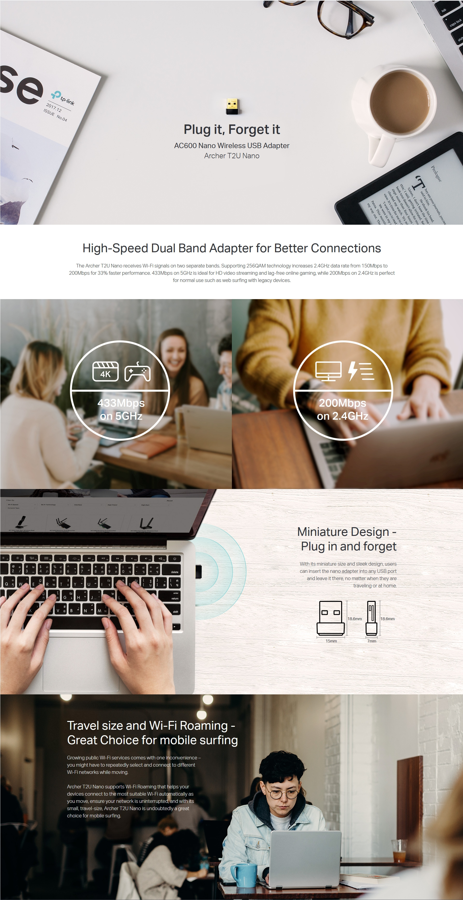 A large marketing image providing additional information about the product TP-LINK Archer T2U Nano 802.11ac AC600 Wireless Dual Band USB Adapter - Additional alt info not provided