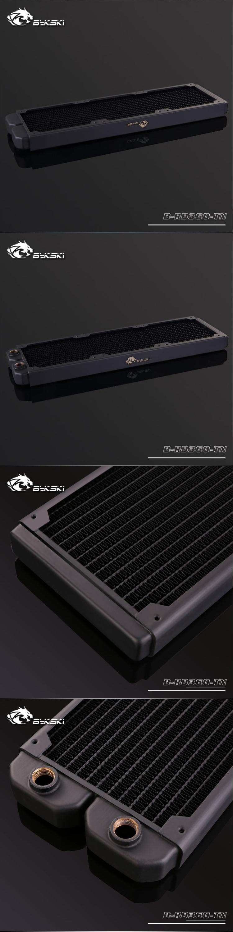 A large marketing image providing additional information about the product Bykski 360mm Radiator - Black - Additional alt info not provided