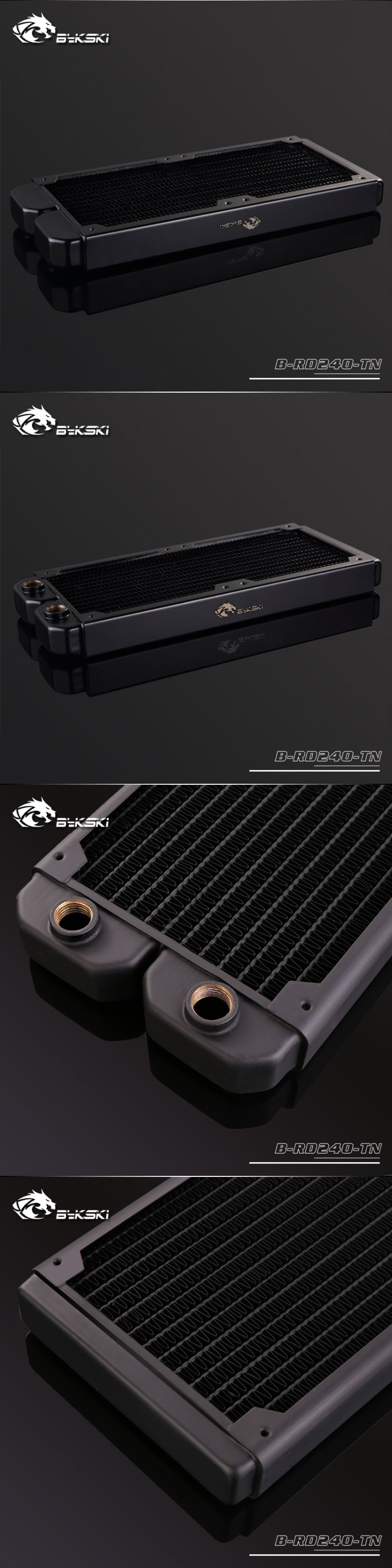 A large marketing image providing additional information about the product Bykski 240mm Radiator - Black - Additional alt info not provided