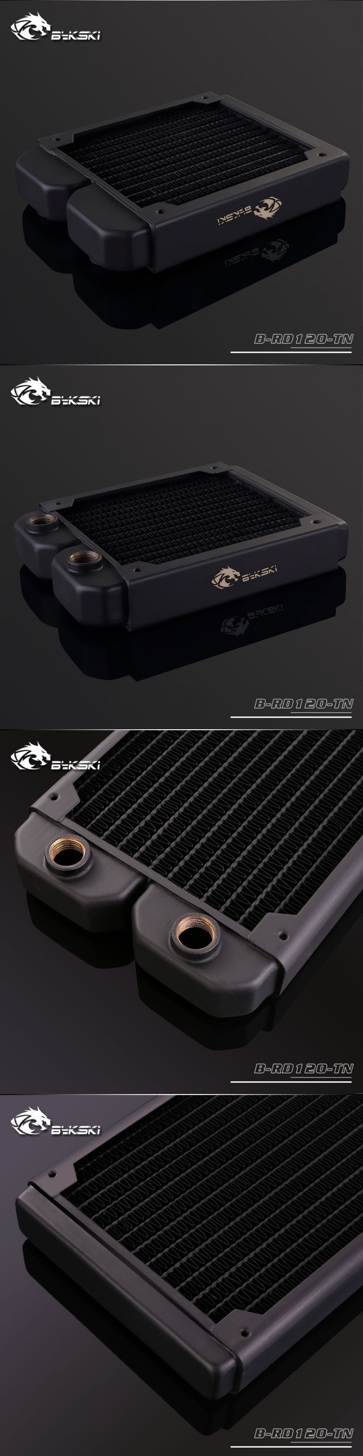 A large marketing image providing additional information about the product Bykski 120mm Radiator - Black - Additional alt info not provided